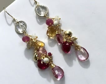 Pink Red Wire Wrapped Long Dangle Earrings Colorful Gemstone Opal Sapphire Hot Pink Topaz Citrine Mixed Metal Coiled Silver Wire Boho Chic