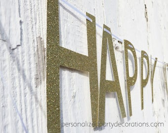 Happy Wedding Day Gold Glitter Banner, Gold Bridal Shower Banner, Glitter Gold Banner, Wedding Day Banner -Choose The Size