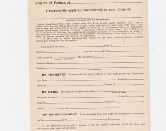 1920s Knights of Pythias blank application for membership card