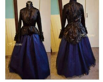 Victorian gown steampunk dress blue black velvet lace corset jacket polka dot