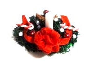 Hand Made Christmas Centerpiece with White Candle