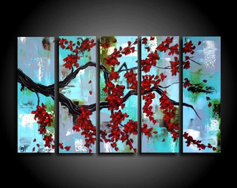 Large Abstract Painting. 5 Piece Asian Painting Red Tree Modern Original Art Contemporary 24 x 40 Blue Canvas Wall Art