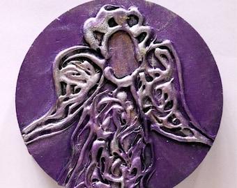 Christmas Purple Angel Original Abstract Painting on Wood European Religious Art