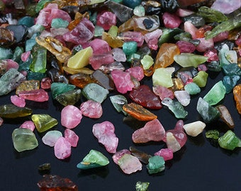 Tourmaline crystal chips by the gram - polished tumbled natural stone - wire wrap orgone bulk small piece watermelon blue pink yellow green