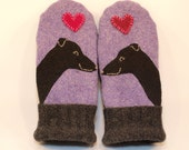 Greyhound Wool Sweater Mittens Whippet Mittens Eco Friendly Lilac and Black Fleece Lining Leather Palm Eco Friendly Size S/M