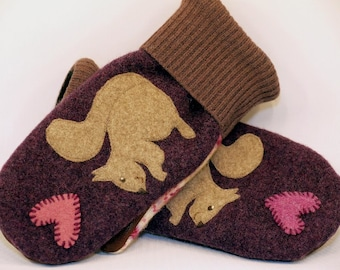 Mittens Recycled Wool Sweater in Dark Grey Brown and Pink Squirrel Applique Leather Palm Fleece Lining Up Cycled  Eco Friendly Size S/M