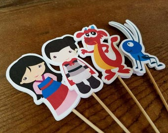 Mulan Party - Set of 12 Mulan and Friends Double Sided Assorted Cupcake Toppers by The Birthday House
