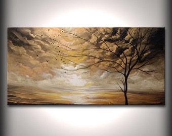 Golden tree art original abstract painting large wall art, home decor, wall hanging 24 x 48 - Mattsart