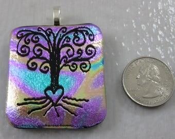 Tree of Life fused glass dicro pendant
