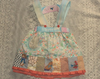 little bluebird gathered skirt with detachable suspenders