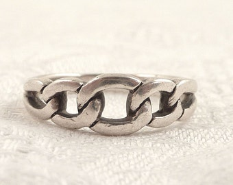 Size 8.5 Vintage Sterling Chain Link Band Ring