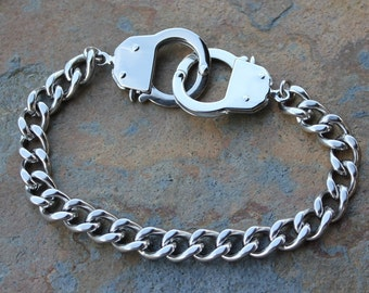 Stainless Steel Handcuffs Bracelet - Non-tarnish Heavy Curb Chain & Hand Cuff Clasps that Open- Men or Women- free shipping USA - Chunky