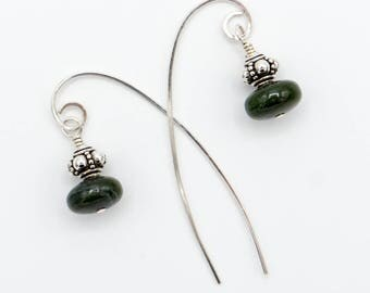 Jade long wire dangle earrings