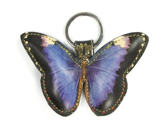 Leather  butterfly keyring / keychain / bag charm - Royal Purple Butterfly