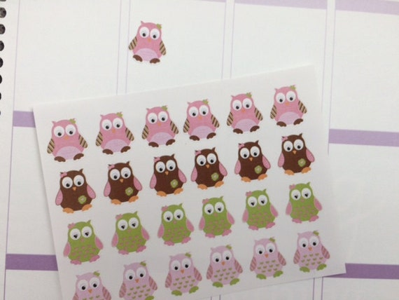24 Girl Owl Stickers, Fits Erin Condren Planner, Stickers, Cute Planner Stickers, Fits Most Planners