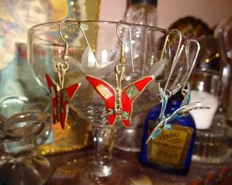 red enamel Abalone mosaic, 3 d butterfly earrings vintage