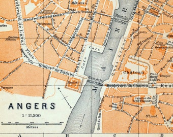 Antique Map of Angers, France - 1905 Vintage City Map - Old City Map