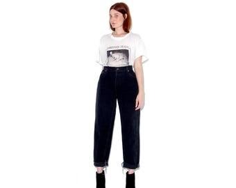 vintage 90 BLACK LEVIS 550 jeans womens large / black jeans black denim levis levi jeans high waisted jeans mom jeans ripped jeans raw hem