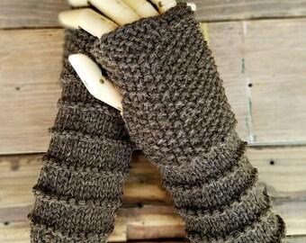 Rustic Brown Wool Fingerless Arm and Hand Warmers by Wildling Art