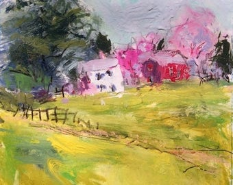 Berkshire Springtime Colorful  Impressionist abstract landscape painting, 11 x 14 inches,  impressionist acrylic,  Russ Potak