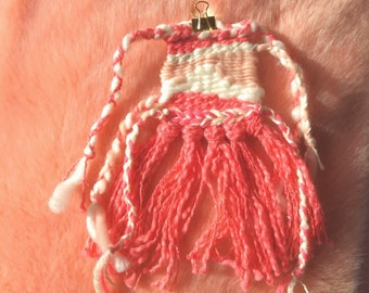 strawberries and cream kisses - hand woven textile art weaving wall hanging in pink and white and rose quartz and roving