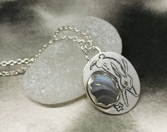 Determined bunny etched sterling silver and Botswana agate little brown rabbit pendant