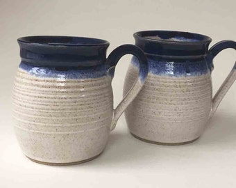 SET of 2, Handmade Coffee Mugs, SHIPS FAST, Speckled White with Deep Blue Rims, 2 Cups, Kitchen Drinkware, 2 Coffee Mugs