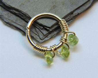 """Nose Ring - Seamless Hoop PERIDOT Nose or Ear Jewelry 18G or 16G or 14G 5/16"""" 3/8"""" Sterling Silver 14K Rose or Yellow Gold Fill Septum Ring"""