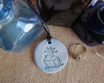 Frog necklace, frog jewelry, ceramic oil diffuser necklace, aromatherapy ceramic clay diffuser
