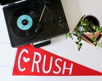 Crush - valentine's day decorations - vintage wool wall pennant- red and white party decor - gift - be mine - love - soulmate - smitten