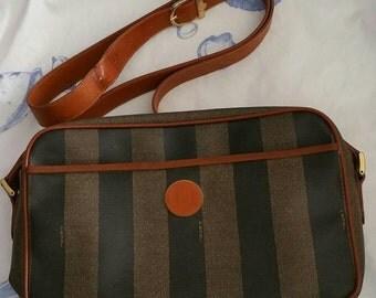 Vintage 1980s authentic Fendi handbag with leather trim