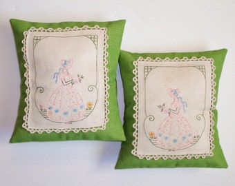 Handmade Throw Pillow Covers, VINTAGE Embroidery on Textured Spring Green Pillow Covers, Charming Old Fashioned Ladies in Spring, SET OF 2