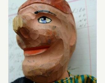 ON SALE Rare Antique Creepy German Carved Head Hand Puppet Folk Art