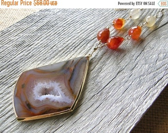 20% OFF Extra Long Red and Orange Agate and Gold Chain Necklace, Layering Stone Pendant Necklace