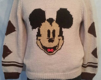 """Incredible vintage hand knit, one of a kind Mickey Mouse sweater, 42"""""""