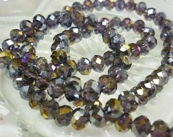 6mm AB Amethyst Crystal Beads 8 Rondelle crystal Beads-AB Amethyst Rondelles