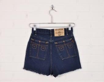 Vintage High Waist Jean Shorts Cut Off Jean Shorts Denim Shorts Mini Shorts 80s 90s Grunge Shorts Festival Shorts Dark Blue Wash S Small 26