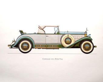 1931 Cadillac (Type V16) Car Collector Lithograph Print