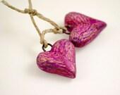 Fuschia love hearts... Ceramic Artisan Charms