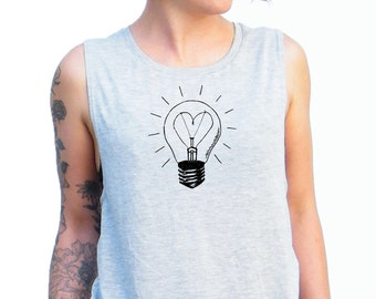 Love Light Tshirt - Love Light Tank Top - Muscle Tee, Workout Top, Muscle Tank< Gym Shirt, Graphic Muscle Tee