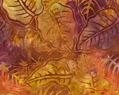 SALE Yellow Gold Berry Palmetto Leaf Tonga Batik Fabric - Timeless Treasures - B9843