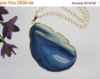 ON SALE Blue Agate Pendant, Agate Necklace, Agate Slice, Agate Pendant, Boho Jewelry, Gold Plated Agate, Layered Necklace, Boho Necklace, AP