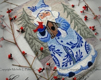 Blue Christmas Santa Claus Cardinal Bird Birdhouse Punch Needle Embroidery DIGITAL Jpeg and PDF PATTERN Michelle Palmer Painting w/Threads