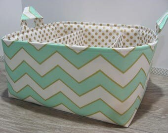 SALE Fabric Diaper Caddy - Storage Container Basket - Organizer Bin - Tote Bag - Bucket- Baby Gift - Nursery - Mint and gold chevron - RTS