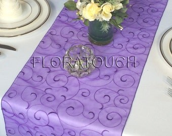 Purple Swirl Organza Table Runner
