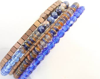 NEW 5 Loop Memory Wire Bracelet Blue Czech Crystals, Orange Chalcedony Rondelle and Round Beads, Bronze Colored Metal Beads
