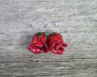 Free Shipping REAL Garnet Christmas Red ROSE BUD Sterling Silver Dangle French Hook Earrings