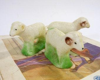 3 Vintage Plastic Sheep   Christmas Creche Animals   Mid Century Holiday Decor    Molded Hard Plastic