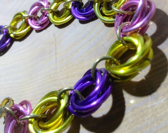 Spring Easter Colors Chainmaille Rosette Bracelet