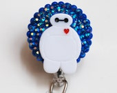 Baymax On Blue ID Badge Reel - Retractable ID Badge Holder - Zipperedheart